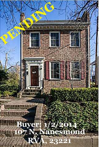 PENDING - Buyer - 107 N. Nanesmond Street, RVA 23221