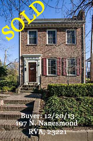 S O L D - Buyer: 107 N. Nanesmond, RVA 23221